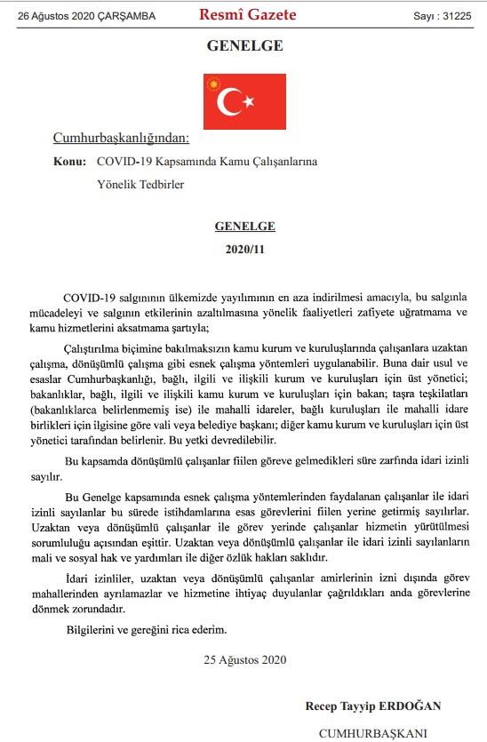 2020/11 Sayılı Cumhurbaşkanlığı Genelgesi