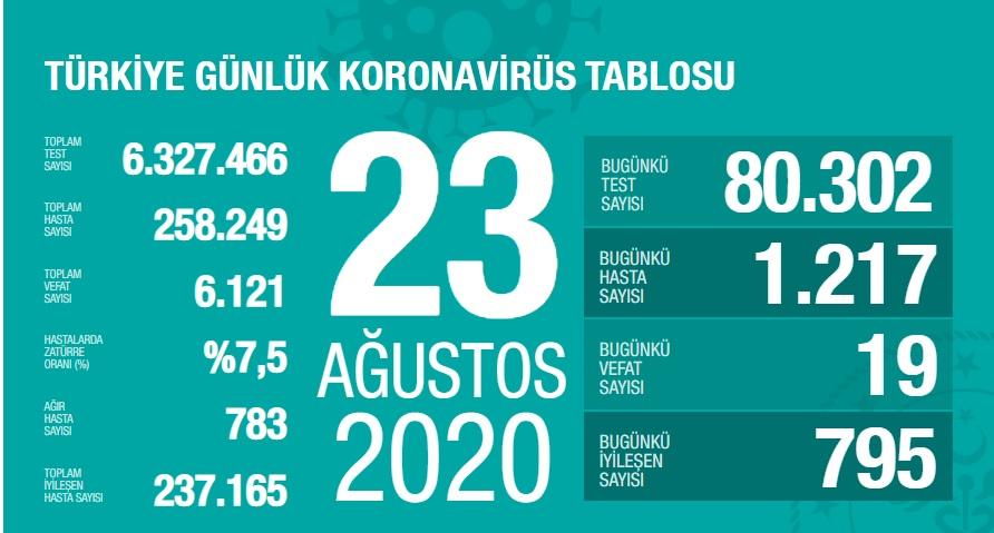 23 Ağustos Korona Virüs Tablosu