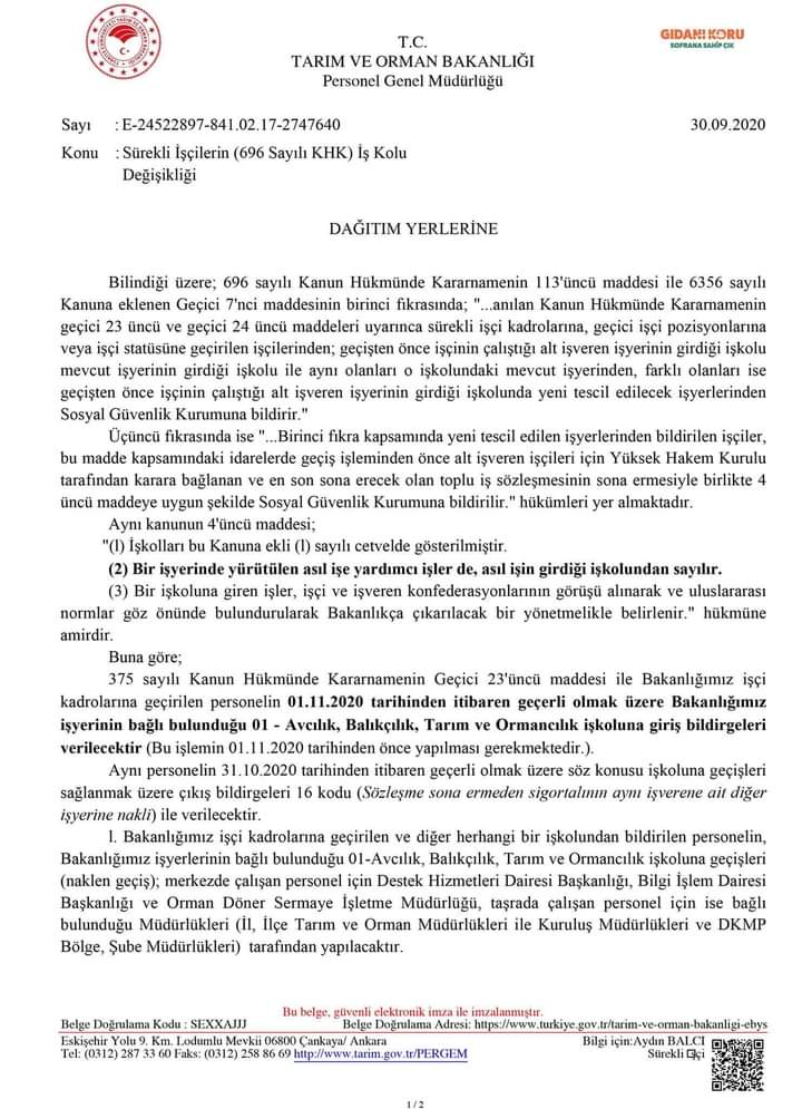 Tarımve Orman Bakanlığı iş Kolu Değişikliği Resmi Yazısı 30.09.2020